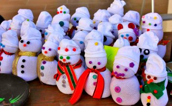 handmade snowmen at the youth market