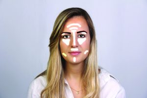 makeup contouring, highlights