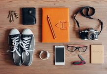 Travel, keys, mobile phone, passport, camera, diary, watch, glasses, wallet, travel apps